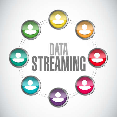 streaming: data streaming people network sign concept illustration design graphic