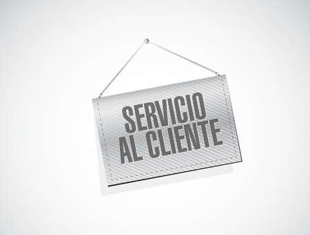 Customer service banner sign in Spanish illustration design graphic