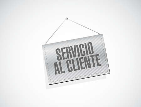 Customer service banner sign in Spanish illustration design graphic