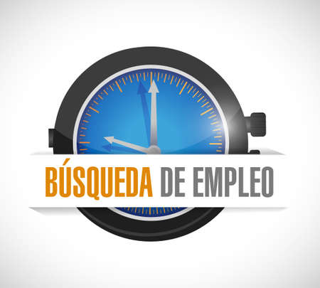 time sharing: job search watch sign concept in Spanish illustration design graphic