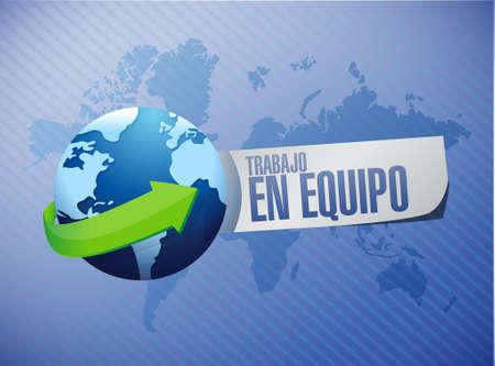 casual business team: teamwork globe sign in Spanish illustration design graphic