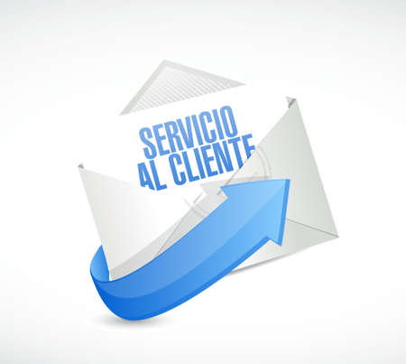 contact center: Customer service mail sign in Spanish illustration design graphic