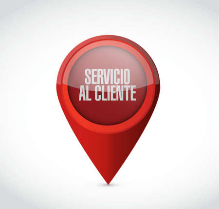 Customer service pointer sign in Spanish illustration design graphic