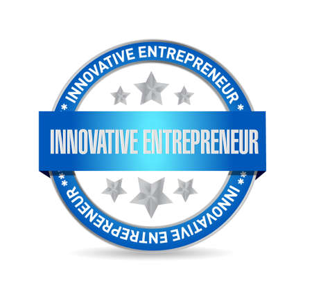 owner money: innovative entrepreneur seal sign illustration design graph