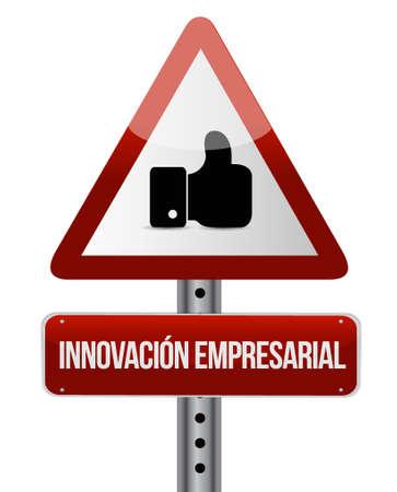 business innovation like sign in Spanish illustration design graphic