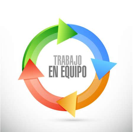 la union hace la fuerza: señal de ciclo de trabajo en equipo en Español ejemplo del diseño gráfico
