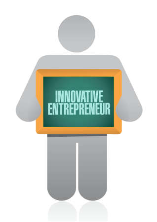 innovative entrepreneur holding sign illustration design graph Stock Illustratie