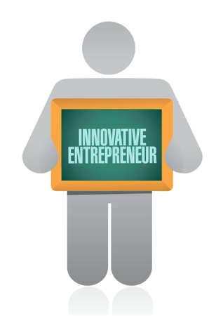 innovative entrepreneur holding sign illustration design graph Иллюстрация