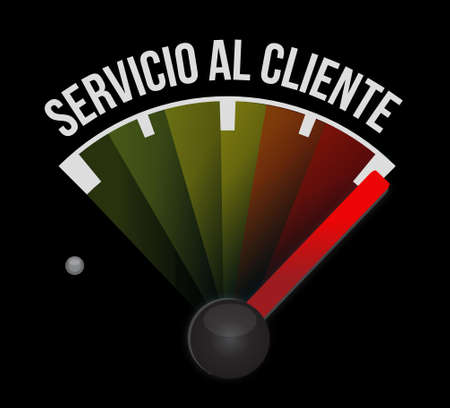 Customer service meter sign in Spanish illustration design graphic