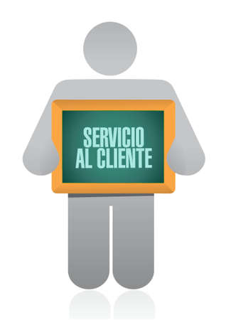 Customer service holding sign in Spanish illustration design graphic