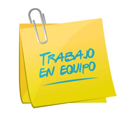 チームワーク メモ記事スペイン語イラスト デザイン グラフィック サインイン