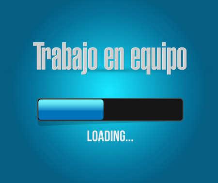 teamwork loading bar sign in Spanish illustration design graphic