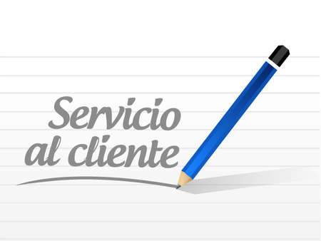 retention: Customer service message sign in Spanish illustration design graphic