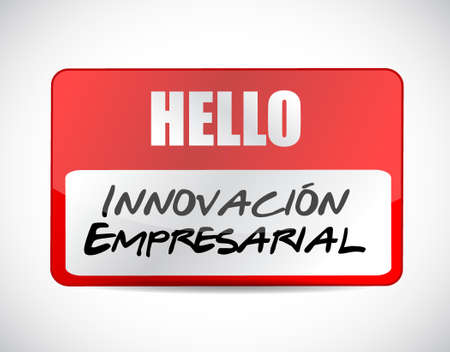 invent clever: business innovation name tag Spanish sign illustration design graphic