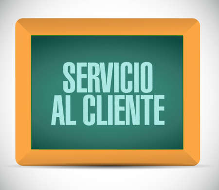Customer service chalkboard sign in Spanish illustration design graphic