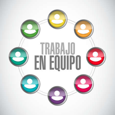 teamwork network sign in Spanish illustration design graphic