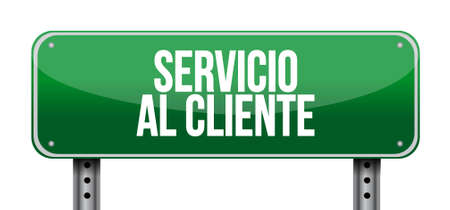 Customer service street sign in Spanish illustration design graphic