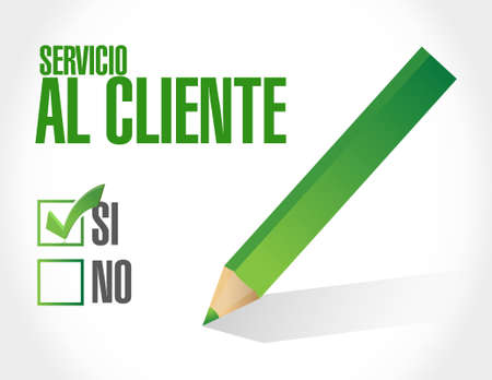 Customer service approval sign in Spanish illustration design graphic Illustration
