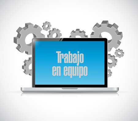 la union hace la fuerza: teamwork laptop sign in Spanish illustration design graphic