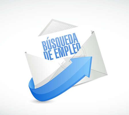 e recruitment: job search envelope sign in Spanish illustration design graphic
