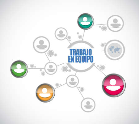 teamwork people diagram sign in Spanish illustration design graphic