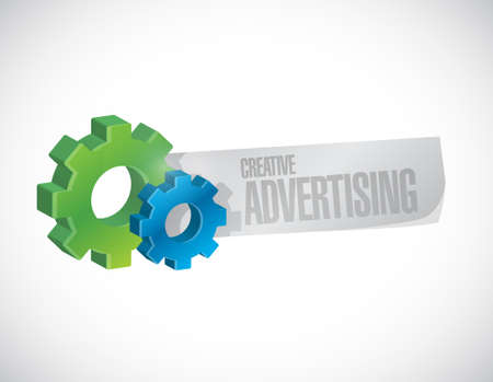 commercial sign: creative advertising gear sign illustration concept design graphic Illustration
