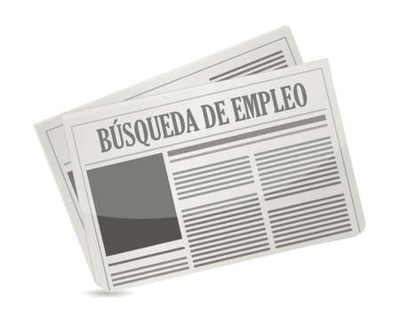 gazette: job search newspaper sign in Spanish illustration design graphic