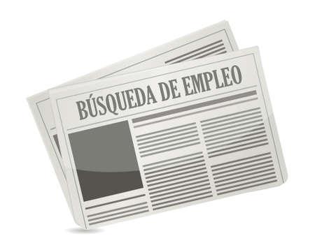 job search newspaper sign in Spanish illustration design graphic