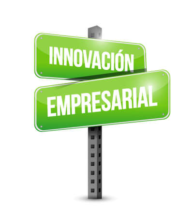 invent clever: business innovation road sign in Spanish illustration design graphic