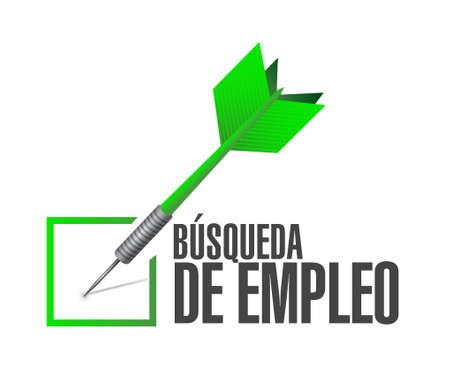 check sign: job search check dart sign in Spanish illustration design graphic
