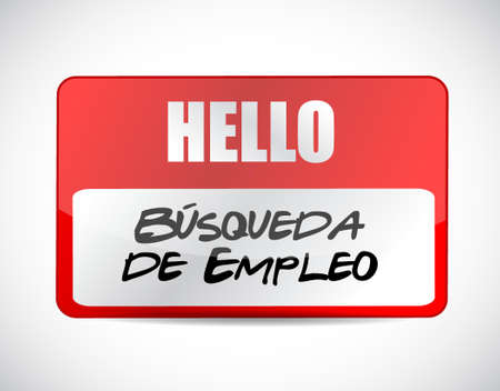 job search name tag sign in Spanish illustration design graphic Vectores