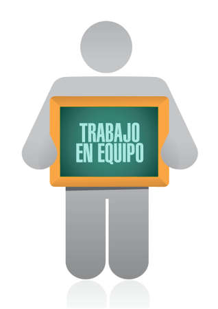 teamwork holding sign in Spanish illustration design graphic