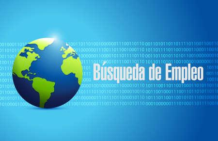 job search binary background globe sign in Spanish illustration design graphic
