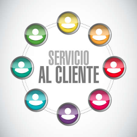 Customer service network sign in Spanish illustration design graphic Illustration