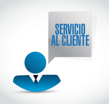 representative: Customer service representative sign in Spanish illustration design graphic Illustration
