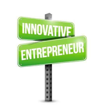 owner money: innovative entrepreneur road sign illustration design graph