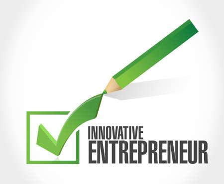 color selection: innovative entrepreneur check mark sign illustration design graph