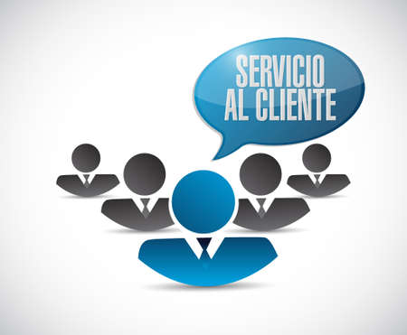 customer service phone: Customer service teamwork sign in Spanish illustration design graphic
