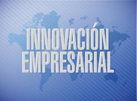 invent clever: business innovation world map sign in Spanish illustration design graphic