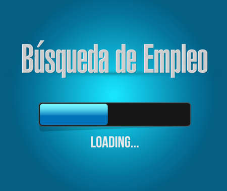 time sharing: job search loading bar sign in Spanish illustration design graphic