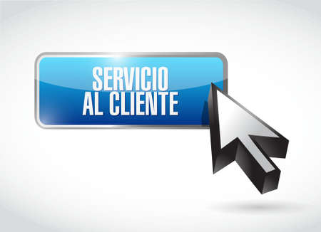 Customer service button sign in Spanish illustration design graphic Illustration