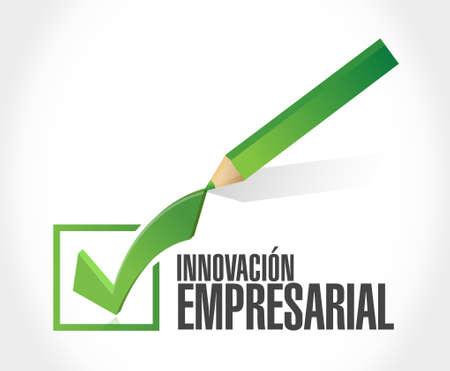 check sign: business innovation check mark sign in Spanish illustration design graphic Illustration