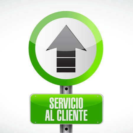customer service phone: Customer service road sign in Spanish illustration design graphic Illustration