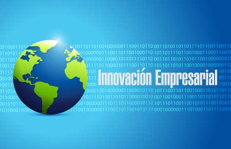 business innovation global sign in Spanish illustration design graphic Stock Illustratie