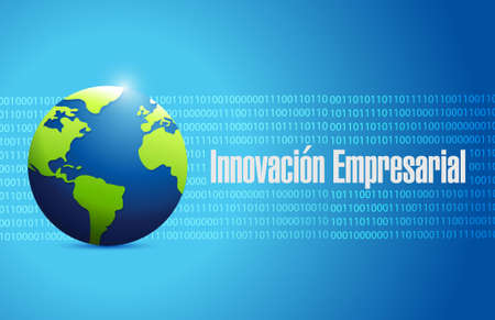 business innovation global sign in Spanish illustration design graphic Vettoriali