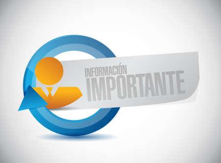 belangrijke informatie zakenman teken in het Spaans illustratie grafisch