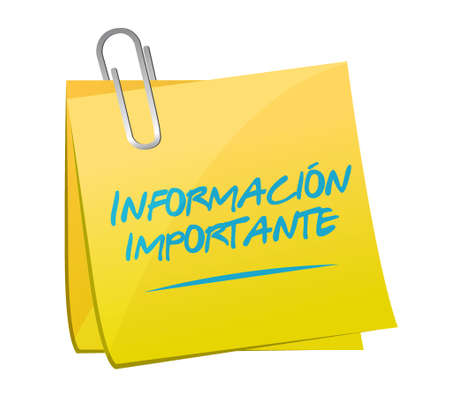 memo: important information memo post Spanish sign illustration design graphic