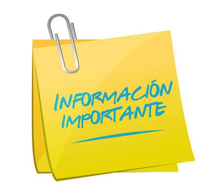 important information memo post Spanish sign illustration design graphic