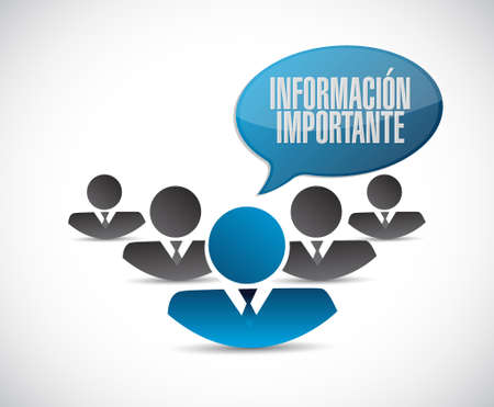 pay attention: important information teamwork sign in Spanish illustration design graphic