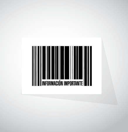 belangrijke informatie barcode Spaanse teken illustratie grafisch Stock Illustratie